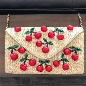 Adorable cherry straw clutch with gold chain